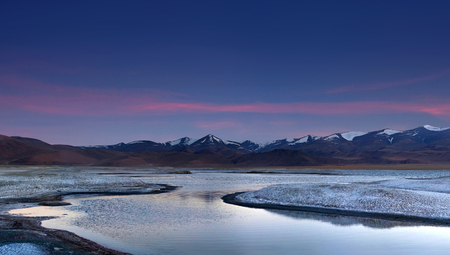 Panorama of mountain landscape with Tso Kar lake in Ladakh, North India
