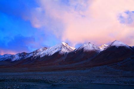 Panorama of mountain landscape at Tso Moriri lake in the Indian Himalaya, Ladakh, India. Stock Photo