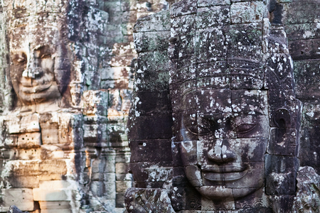 prasat bayon: Giant stone faces of Prasat Bayon temple (late 12th - early 13th century) in Angkor Thom, Cambodia