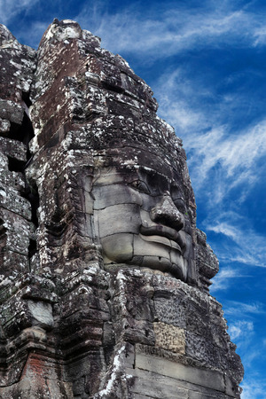 Ancient bas-relief at the Upper terrace of Prasat Bayon temple (late 12th - early 13th century) in Angkor Thom, Cambodia Stock Photo