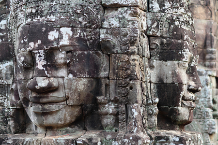 prasat bayon: Ancient bas-relief at the Upper terrace of Prasat Bayon temple (late 12th - early 13th century) in Angkor Thom, Cambodia Stock Photo