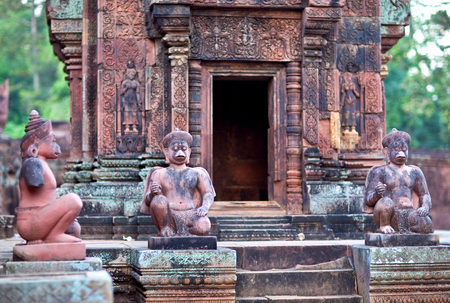 mahabharata: Facade of Banteay Srey Temple in Angkor Area, Cambodia. Banteay Srey is a 10th century Cambodian temple dedicated to the God Shiva