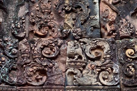 mahabharata: Ancient bas-relief at the facade of Banteay Srey Temple in Angkor Area, Cambodia. Banteay Srey is a 10th century Cambodian temple dedicated to the God Shiva.