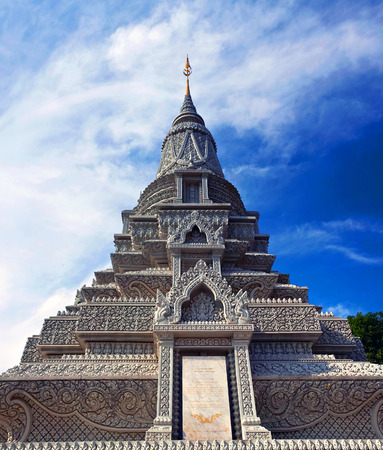 Stupa of King Norodom Suramarit near the Silver Pagoda in Phnom Penh. Stupa of His Majesty Ang Duong was built in 1908 and contains his cremated ashes Stock Photo