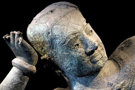 vishnu: Ancient bronze statue of reclining Vishnu from West Mebon, Angkor on January 10, 2013 in Phnom Penh National Museum, Cambodia