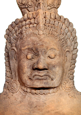 The Asura - ancient sculpture (late 12th - early 13th century) in Angkor Thom, Cambodia. Asuras are mythological lord beings in Indian texts who compete for power with the more benevolent devas. Stock Photo