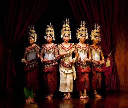 mahabharata: SIEM REAP, CAMBODIA - JANUARY 4, 2013: Beautiful girls performing Apsara Dance in Siem Reap, Cambodia. Apsara Dance is the ancient classical dance form of Cambodia.