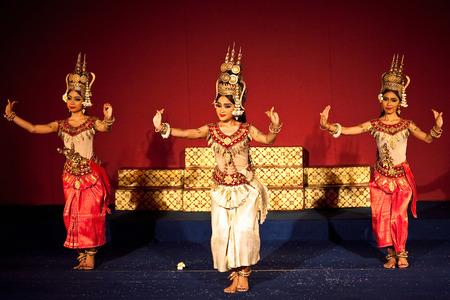 mahabharata: PHNOM PENH, CAMBODIA - JANUARY 10, 2013: Khmer classical dancers performing Apsara Dance. Apsara Dance is the ancient classical dance form of Cambodia Editorial