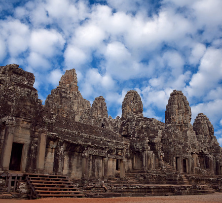 prasat bayon: Facade of ancient Prasat Bayon Temple (late 12th - early 13th century) in Angkor Thom, Cambodia