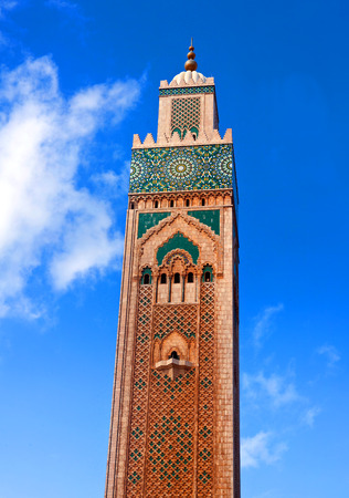 Famous Hassan II Mosque view in Casablanca, Morocco.  The Mosque is the largest mosque in Morocco and the third largest mosque in the world after the Grand Mosque of Mecca and the Prophets Mosque in Medina.