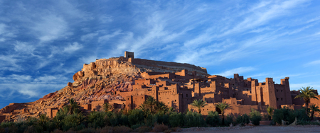 Panorama of Ait Benhaddou Casbah near Ouarzazate city in Morocco. Ait Benhaddou is a fortified city, or palace (ksar), along the former caravan route between the Sahara and Marrakech.