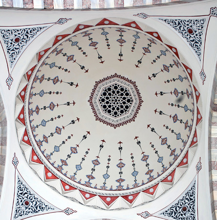 suleyman: ISTANBUL, TURKEY - OCTOBER 29: Ceiling decoration of Suleymaniye Mosque, built in 1558 by Mimar Sinan, on October 29, 2015 in Istanbul, Turkey. The Suleymaniye Mosque built on the order of Sultan Suleyman the Magnificent.