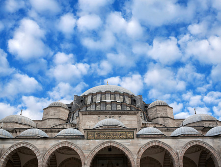 suleyman: The Suleymaniye Mosque in Istanbul, Turkey. The Suleymaniye Mosque built on the order of Sultan Suleyman the Magnificent. The construction work began in 1550 and the mosque was finished in 1558.