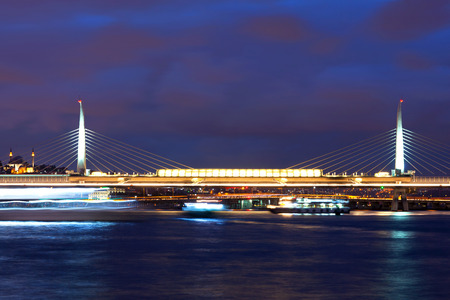 ataturk: Ataturk bridge and Golden Horn at twilight in Istanbul, Turkey