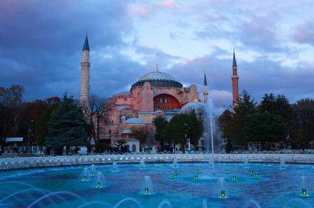 Hagia Sophia (Ayasofya) temple at sunset in Sultanahmet on October 31, 2015 in Istanbul,Turkey.