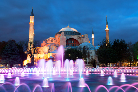 Hagia Sophia (Ayasofya) temple at sunset in Sultanahmet, Istanbul, Turkey. Hagia Sophia is a great architectural beauty and an important monument both for Byzantine and for Ottoman Empires. Editorial