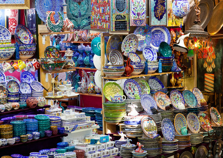 Traditional Turkish ceramics and mass product souvenier on the Grand Bazaar in Istanbul, Turkey