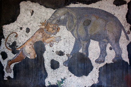 justinian: ISTANBUL, TURKEY - OCTOBER 29, 2015: Elefant and tiger - mosaic from the Byzantine period in the Great Palace Mosaic Museum in Istanbul, Turkey. Great Palace was constructed during the reign of Justinian I (527-565).