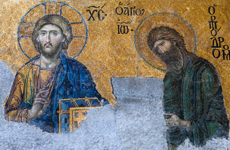 constantinople ancient: ISTANBUL, TURKEY - OCTOBER 30, 2015: Byzantine mosaic in the old church Hagia Sophia showing the Judgment day with Jesus Christ, from the 12th century