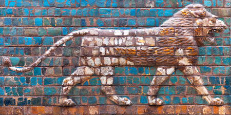 ISTANBUL, TURKEY - OCTOBER 30, 2015: Glazed brick panel with Lion - details of the Babylonian Ischtar Tor (Ishtar Gate) in the Istanbul Archaeology Museum