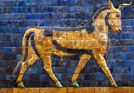ISTANBUL, TURKEY - OCTOBER 30, 2015: Glazed brick panel with Bull - details of the Babylonian Ischtar Tor (Ishtar Gate) in the  Istanbul Archaeology Museum Editorial