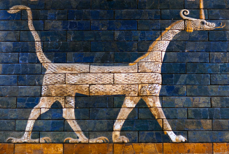 ISTANBUL, TURKEY - OCTOBER 30, 2015: Ancient glazed brick panel with Sirrush - details of the Babylonian Ischtar Tor (Ishtar Gate) in the Istanbul Archaeological Museum
