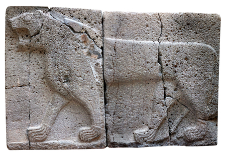 ISTANBUL, TURKEY - OCTOBER 30, 2015: Ancient stone bas-relief with Lion (Aslan) of late Hittite period in the Istanbul Archaeology Museum Editöryel