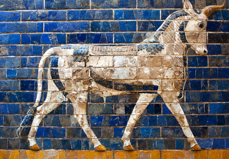 ISTANBUL, TURKEY - OCTOBER 30, 2015: Glazed brick panel with Aurochs - details of the Babylonian Ischtar Tor (Ishtar Gate) in the  Istanbul Archaeology Museum