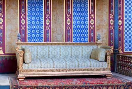 harem: ISTANBUL, TURKEY - OCTOBER 31, 2015: Throne room inside Harem section of Topkapi Palace.