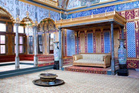 ISTANBUL, TURKEY - OCTOBER 31, 2015: Throne room inside Harem section of Topkapi Palace. Entertainment, weddings and exchange of Bayram felicitations took place in this hall. Editorial