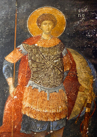 george: ISTANBUL, TURKEY - OCTOBER 31, 2015: Saint George - ancient painted fresco in the Church of the Holy Saviour in Chora (Kariye Camii) in Istanbul,Turkey.