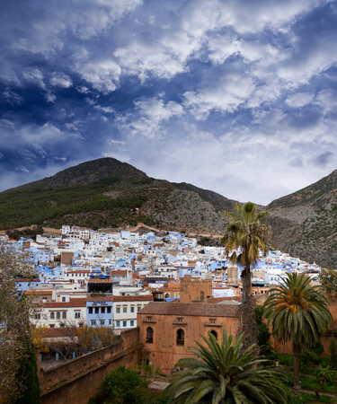northwest africa: Panorama of Chefchaouen Medina in Morocco, Africa. Chefchaouen or Chaouen is a city in northwest Morocco. It is the Chief town of the province of the same name, and is noted for its buildings in shades of blue. Stock Photo
