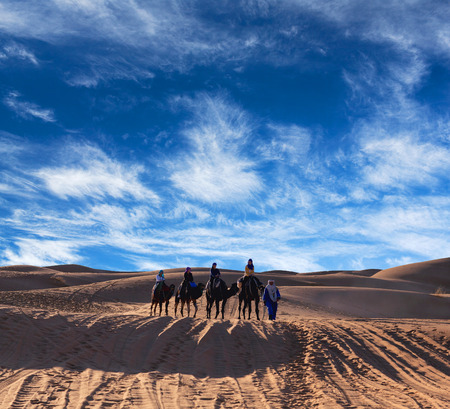 saddle camel: ERG CHEBBI, MOROCCO - JANUARY 6, 2014: Caravan crossing in desert in Western Sahara, Morocco. Tourism is an important item in the economy of Morocco. Editorial