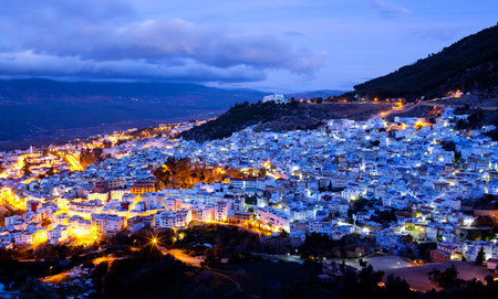 Panorama of Chefchaouen blue medina in Morocco, North Africa