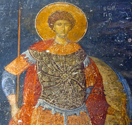 chr: ISTANBUL, TURKEY - OCTOBER 31, 2015: Saint George - ancient painted fresco in the Church of the Holy Saviour in Chora (Kariye Camii) in Istanbul,Turkey. Saint George, according to legend, was a soldier in the Roman army who later became venerated as a Chr