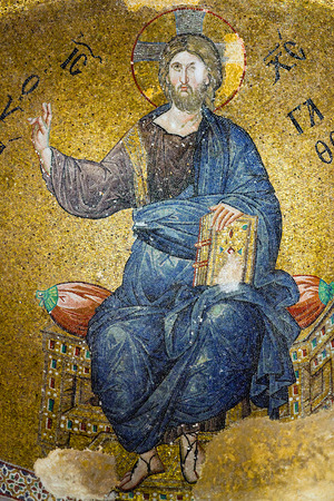 ISTANBUL, TURKEY - OCTOBER 31, 2015: Mosaic depicting Christ in Pammakaristos Church in Istanbul, Turkey. According to most scholars, the church was built between the eleventh and the twelfth centuries.