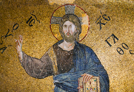 camii: ISTANBUL, TURKEY - OCTOBER 31, 2015: Mosaic depicting Christ in Pammakaristos Church in Istanbul, Turkey.