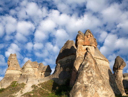 Pasabag valley in Cappadocia, Central Anatolia, Turkey. Pasabag valley (Valley of the monks) contains some of the most striking fairy chimneys in Cappadocia with twin and even triple rock caps.
