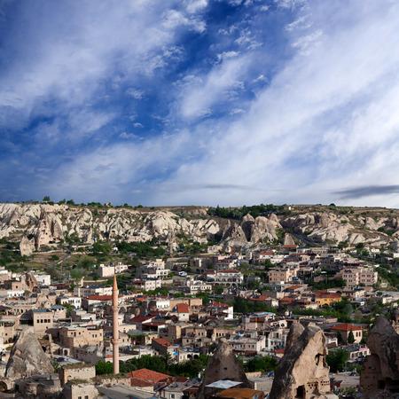 Panorama of Goreme village in Cappadocia, Central Anatolia, Turkey Stock Photo