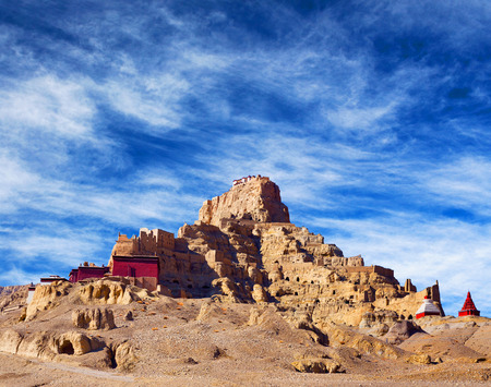 tantric: Citadel Tsaparang, the ruins of the ancient capital of Guge Kingdom and Tholing Monastery, Tibet. Tholing monastery was built in 997 AD by second King of the Guge Kingdom. Stock Photo