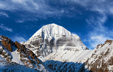 jainism: Panorama of sacred mount Kailash (elevation 6638 m), which are part of the Transhimalaya in Tibet. It is considered a sacred place in four religions: Bon, Buddhism, Hinduism and Jainism. Stock Photo