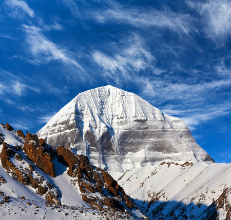 jainism: North face of Mount Kailash (elevation 6638 m), which are part of the Transhimalaya in Tibet. It is considered a sacred place in four religions: Bon, Buddhism, Hinduism and Jainism.