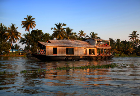 alleppey: Houseboat on backwaters in Kerala, South India