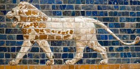 Ancient glazed brick panel with Lion - details of the Babylonian Ischtar Tor (Ishtar Gate) in Istanbul, Turkey