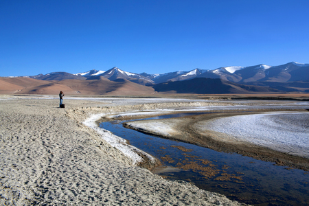 Tso Kar salt water lake in Ladakh, North India. Tso Kar located in Rupsa valley at a height of around 4,500 m and 28 km long.