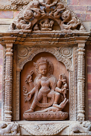 Architecture detail on the palace in Patan, Kathmandu Valley, Nepal