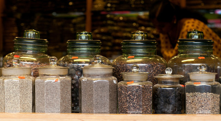 Tea and Spices in an Indian market in Fort Cochin, India