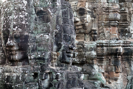 prasat bayon: Giant stone face of Prasat Bayon temple (late 12th - early 13th century) in Angkor Thom, Cambodia