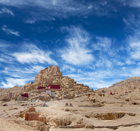 Panorama of Tsaparang, the ruins of the ancient capital of Guge Kingdom and Tholing Monastery, Tibet. Tholing monastery was built in 997 AD by second King of the Guge Kingdom. Stock Photo