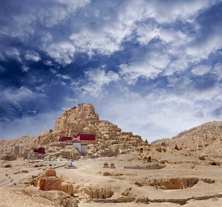 tantric: Panorama of Tsaparang, the ruins of the ancient capital of Guge Kingdom and Tholing Monastery, Tibet. Tholing monastery was built in 997 AD by second King of the Guge Kingdom. Stock Photo